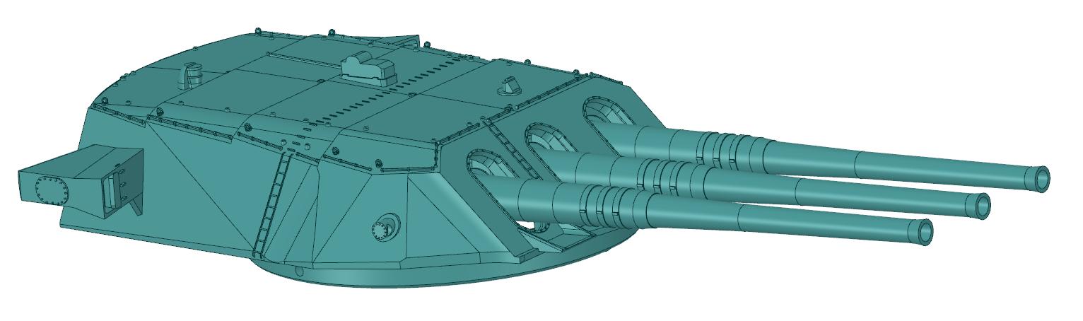 46cm Main Guns Forward Angle View