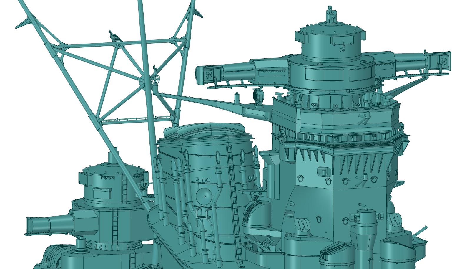 CAD Image of Yamato Battleship Bridge Detail