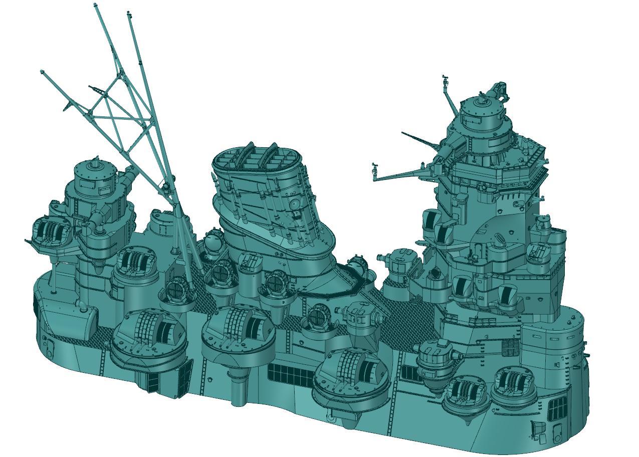 CAD Image of Yamato Battleship Model.